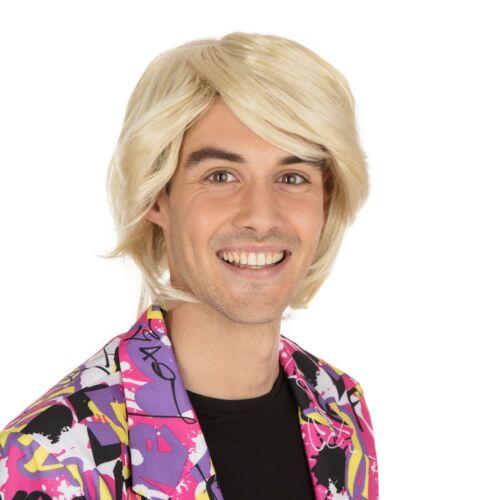 MEN/'S 1980/'S BOY BAND POP STAR SIDE PARTING BLONDE WIG FANCY DRESS ACCESSORY