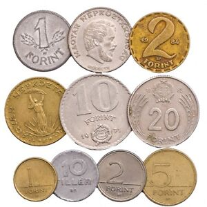 MIXED-LOT-10-HUNGARY-COINS-FILLER-FORINT-HUNGARIAN-OLD-COINS-1946-2018