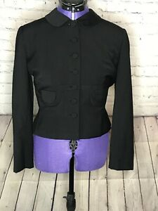 Paul-Parnes-1950s-Vintage-Peter-Pan-Collar-Black-Button-Down-Jacket