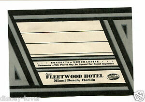 Details about Vintage Hotel Luggage Label FLEETWOOD HOTEL Miami Beach  mailing address label