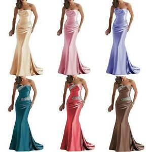 Satin Mermaid Mother of the Bride Dresses Strapless Beaded Wedding Party Gowns