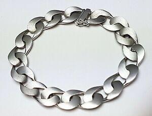 Mattiertes-835-Silber-Armband-60er-Jahre-Vintage-Hersteller-Punze-19-5-cm-A-796