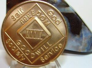 Narcotics Anonymous NA 34 Year Clean Bronze Medallion Recovery Coin Chip Token