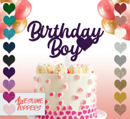 Cake Topper Personalised Custom Birthday Boy Glitter Decoration Birthday Party