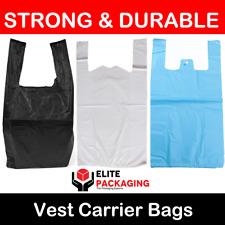 "WHITE BLUE BLACK PLASTIC CARRIER BAGS 11x17x21"" 14MU SHOP MARKET STALL RETAIL XL"