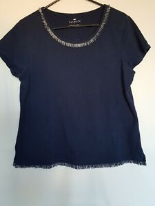 TALBOTS-Women-039-s-T-Shirt-Short-Sleeves-Boat-Neck-Powder-Blue-Cotton-Top-Sz-L-A