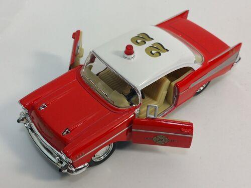 "5/"" Kinsmart 1957 Chevrolet Bel Air Fire Chief 1:40 Diecast Model Toy Car Chevy"