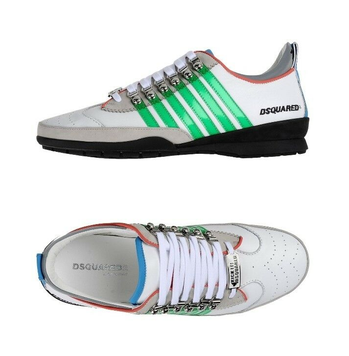 Los hombres de NWB Dsquared2 zapatillas / cuero blanco / verde / zapatillas zapatos nosotros tamaño 12 euro talla 45 747b1a
