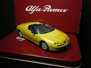 1-43-Alfa-Romeo-Spider-1995-Giallo-Ocra-Solido-Cofanetto-in-Latta-Tin-Box