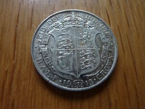 1913 Half Crown, High .925 Silver Content (ref67B)