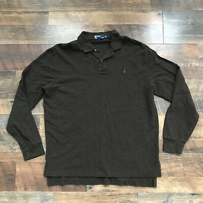 Polo Ralph Lauren Long Sleeve Rugby Polo Pullover Sweater Brown Adult Mens XL | eBay