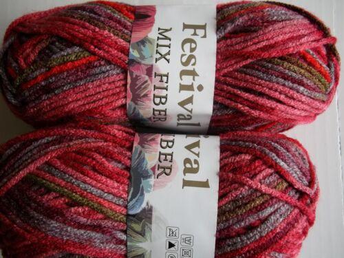 variegated pink//red//purple//tan Festival Mix Fiber bulky yarn lot of 2