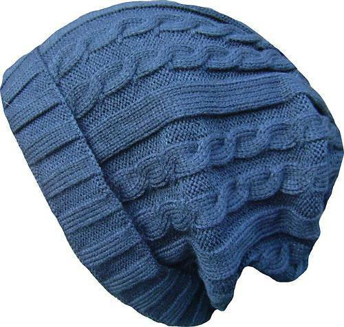 Unisex Oversized Cable Knit Long Beanie Hat Various Colours Available