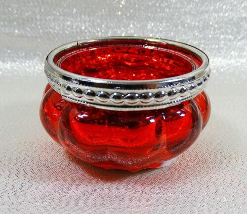 """Teelichthalter/""""Princess Ø= 6cm Glas mit Metall-Perlrand*Teelichtglas Auswahl"""