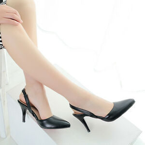 Womens-Dress-Shoe-Pointy-Toe-Slingback-High-Heel-Pumps-Shoes-Formal-Pull-On-new