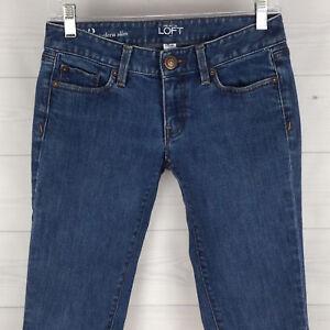 Ann-Taylor-LOFT-Moder-Slim-Petite-Women-2P-Stretch-Blue-Dark-Wash-Low-Rise-Jeans