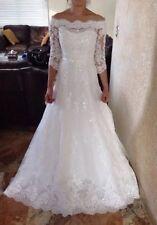 Pronovias Letour Wedding Dress Ivory Natural Color Size 4 Gown Off Shoulder