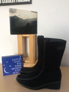 SPORTO-Janet-Black-Suede-Zip-Wedge-Snow-Winter-Lined-Wedge-Boots-9M-PreOwned