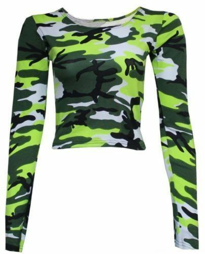 WOMEN/'S LADIES CAMOUFLAGE LONG SLEEVE PRINTED CROP TOP JERSEY T-SHIRT SIZE 8-14