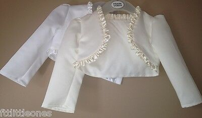 Baby girls bolero cardigan christening wedding bridesmaid 12-18 MONTHS WHITE
