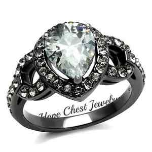 WOMEN-039-S-GRAY-STAINLESS-STEEL-PEAR-CUT-CUBIC-ZIRCONIA-ENGAGEMENT-RING-SZ-6-8-10