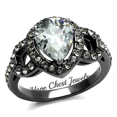 MJS WOMEN'S GRAY STAINLESS STEEL PEAR CUT CUBIC ZIRCONIA ENGAGEMENT RING SZ 7, 8