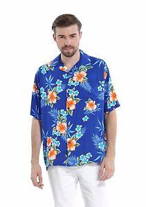 Men-Aloha-Shirt-Cruise-Tropical-Luau-Beach-Hawaiian-Hawaii-Casual-Blue-Hibiscus