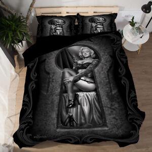 3D Marilyn Monroe With Gun Money Quilt Cover Bedding Set Pillow Case Black