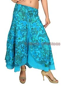 f13cacd4b0 Women Cotton Sky Blue Long Skirt Stretch Waist Floral Print Skirt ...