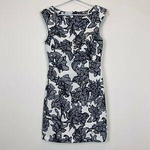 BNWT-White-Closet-Womens-White-with-Black-Flowers-Sleeveless-Dress-Size-8