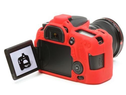 Cámara Funda de silicona para EOS 70D /& LCD Protector de Pantalla Rojo