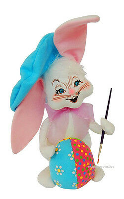 """EASTER BUNNY Egg Artist 12"""" Decoration FIGURE rabbit holiday 2014 Annalee NEW!"""