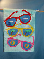 Sunglasses Palm Trees Beach Balls Ocean Garden & Yard Flag 12 X 18