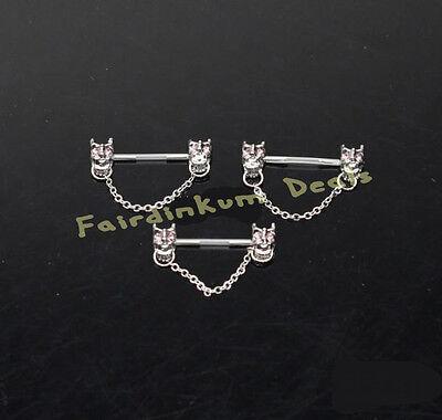 Covet Jewelry 316L Stainless Steel Red Eye Alien Skull Nipple Bar