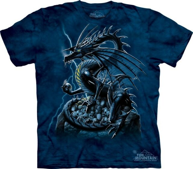 Skull Dragon T-Shirt by The Mountain. Fantasy Tee Sizes S-5XL NEW
