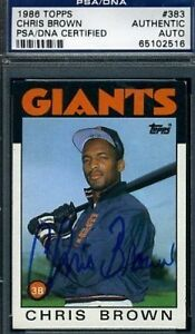 Chris Brown D.86 Signed Psa/dna 1986 Topps Certified ...