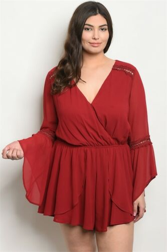 Womens Plus Size Burgundy Romper Bell Sleeves Lace Accent 3XL NWT