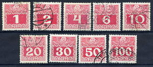 AUSTRIA-1908-Postage-due-chalky-paper-set-used