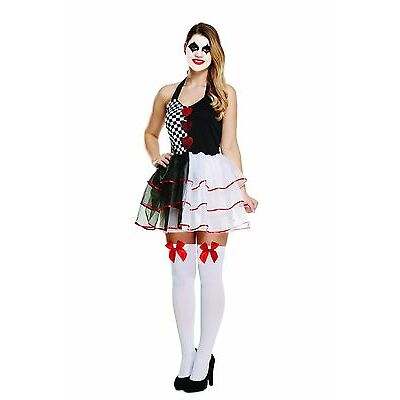 Ladies Jester Halloween Costume Adults Harlequin Clown Fancy Dress Womans Outfit