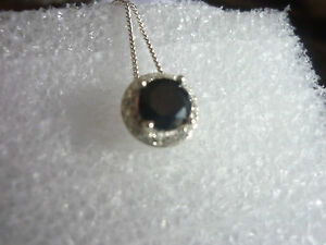 Sterling-Silver-Cluster-Black-Cubic-Zirconia-Pendant-Necklace-on-Sterling-Chain