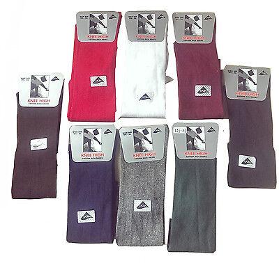 12 Girls Knee High Socks Plain Black White Grey Red All Size