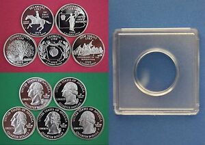 5-Silver-1999-S-Proof-State-Quarters-With-5-2x2-Snaps-DCAM-Flat-Rate-Shipping