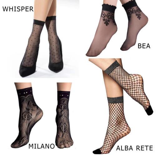 Black Girls Womens Sheer Lace Fishnet Ankle Socks one size