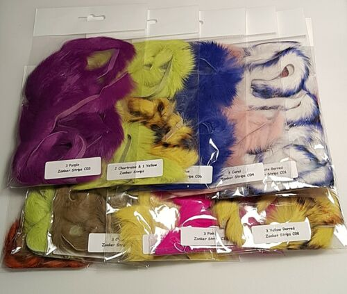 Choice of Colour Rabbit Zonker Strips Fly Tying Materials