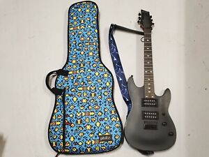 Mini Laguna Electric Guitar Black 6 String Music Instrument Phitz Case UNTESTED