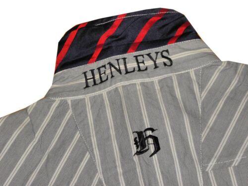 BNWT HENLEYS LONG SLEEVE STRIPED SHIRT GREY LARGE