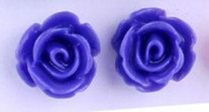 Studs Earrings Flower Blossom Rose Royal Blue Silbefarbenes Metal