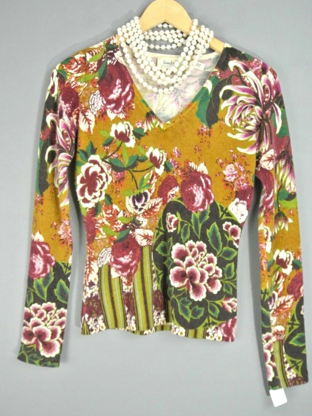 Newman Marcus Cashmere Knit Floral Womens Sweater Top Brown XS Multi color 1008