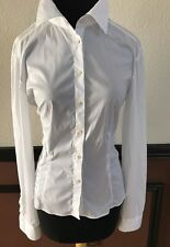 JOHN GALLIANO White Cotton Stretch long sleeve  Blouse Shirt IT 48  US 8/10