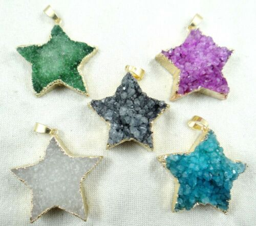 Beautifu Five-pointed star Plating agate pendant necklace Gemstone Loose Beads